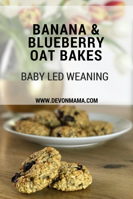 Blueberry, banana and oat bakes weaning recipe.A quick baby led weaning snack or BLW breakfast, ideal for babies, toddlers and pre-schoolers. These three ingredient cookies are healthy, tasty and simple. Banana, blueberry and oat bakes that are ready in minutes, filling and an ideal weaning snack for your little one!