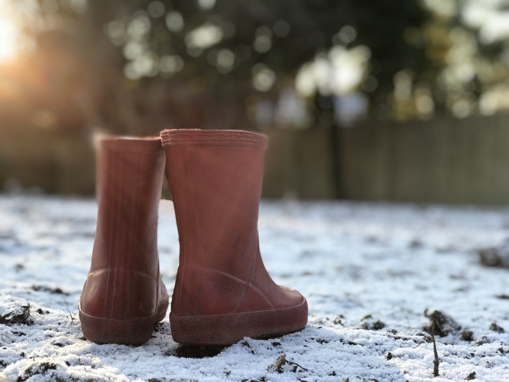 Wellies in the snow