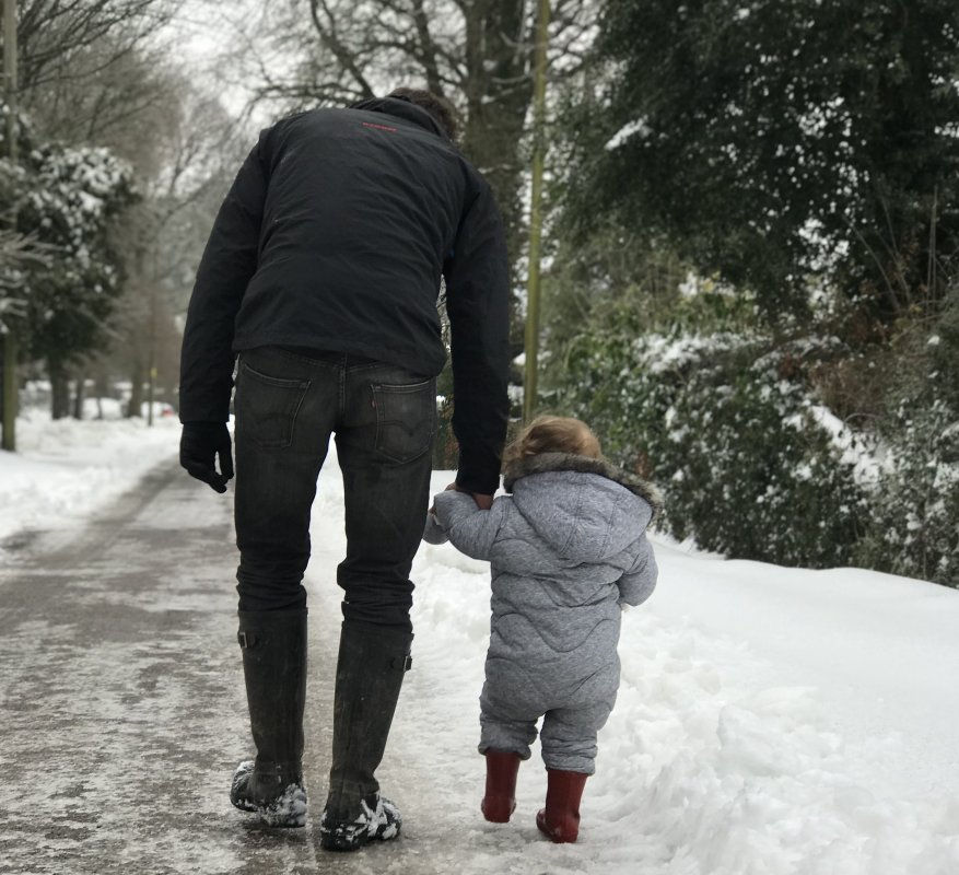 Father son in snow day 2018
