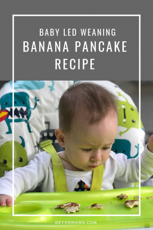 Banana pancake recipe; two ingredient meal perfect for starting baby led weaning. Simple and easy to make, this breakfast is great for BLW or toddler snacks; high in protein, it's the ultimate breakfast idea or snack for children from six months onward