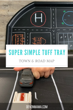 Simple tuff tray ideas for busy parents. Create a small town set up, perfect for car, road and small world fun. Quick, low cost and easy but lots of fun