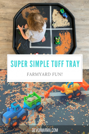Simple tuff tray ideas for busy parents. Create a small farm play station with household ingredients, perfect for construction sites or farmyard fun. Quick, low cost and easy but lots of fun