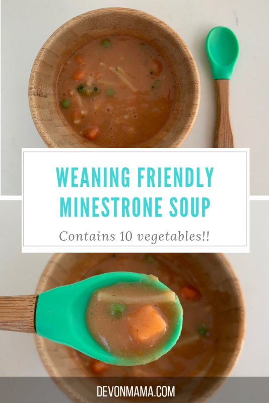 This simple vegetable minestrone soup is perfect for babies, toddlers and small children. Prepare in twenty minutes and freeze for quick, easy lunches. Perfect for traditional and baby led weaning. Contains hidden vegetables, pasta and plenty of flavour. This soup is sure to be a family favourite - an essential soup recipe for all families