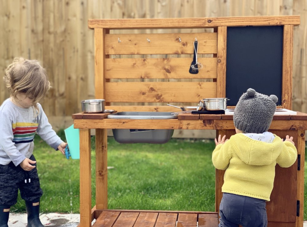 Get children in to the garden with a mud kitchen, as simple or complex as you like!