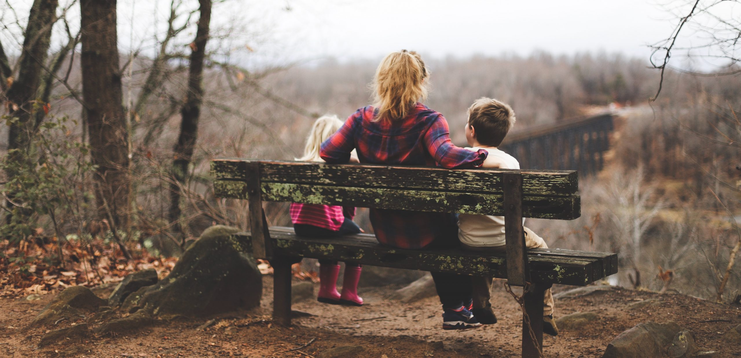 Mother on bench with children
